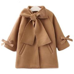 2-8 Years Toddler Winter Coats Kids Baby Girls Warm Wool Bowknot Trench Coat Overcoat Girls Kids Long Sleeve Outwear Girl Jacket