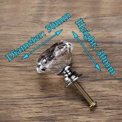 KAK 30mm Diamond Shape Design Crystal Glass Knobs Cupboard Pulls Drawer Knobs Kitchen Cabinet Handles Furniture Handle Hardware