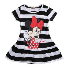 Summer Cute Girls Dress Minnie Mouse Cartoon Girl Mini Kids Children Cute Short Sleeve Dresses Kid Enfant Garments Clothing