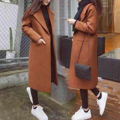 Women Work Solid Vintage Winter Office Long Sleeve Button Woolen Jacket Coat пальто женское winter coat women