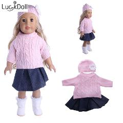Luckdoll handmade hat +scarf+dress suit  for 18 inch  Doll or 43 cm  Doll Accessories for Dolls