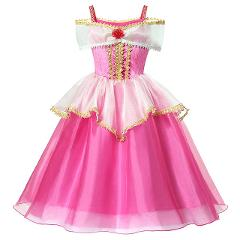 YOFEEL Aurora Dress Up Costumes for Girl Pink Sleeping Beauty Princess Costume Kids Christmas Party Birthday Fancy Dress