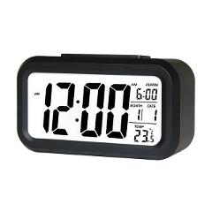 LED Large Display Digital Electronic Alarm Clock Smart Night Light Function With Snooze Calendar For Home Office Travel