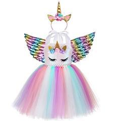 Unicorn Princess Sequin Dress Newborn Baby Girls Fluffy Rainbow Tutu Dress with Headband Kid Birthday Party Cake Smash Outfits
