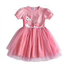 VIKITA Toddlers Summer Tulle Vestidos Girls Butterfly Dress Kids Cartoon Dress for Girls Star Heart Licorne Tutu Dresses