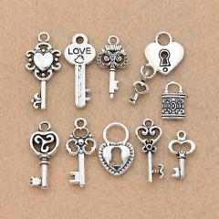 Mix Antique Silver Plated Key Lock Love Charm Pendants for Bracelet Necklace Accessories Diy Jewelry Making Handmade 10pcs