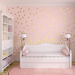Gold Polka Dots Wall Sticker Baby Nursery Stickers Children Removable Wall Decals Home Decoration Art  Vinyl Wall Art P5-B