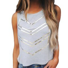 Women's T-Shirt Cotton Blend O-Neck Shirt Girls Tops Print Summer Fashion Blusas Ladies Fitness Tops Sleeveless Vest T-Shirt