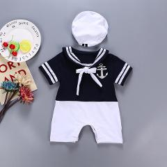 Fashion Sailor Baby Boy Short Rompers Cool Baby Navy Beret Cap Cotton Infant Clothes Costumes Seaman Jumpsuit Overall