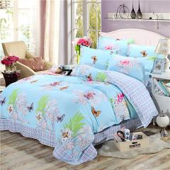 New Product Spring Floral and Butterfly Printed Bedding Set 3/4pc Bed Linen Twin Full Queen King Size Soft Duvet Cover Sets 2019