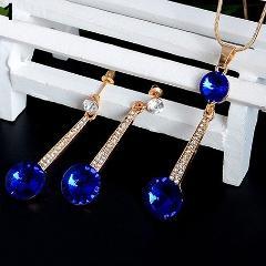 New Arrival Women's Big Round Pendant Chain Choker Necklace Earrings Wedding Jewelry Set 15smt 5FSD6