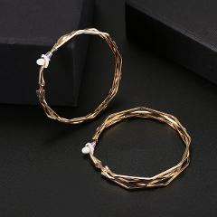 Hoop Clip on Earrings for Women No Pierced Unique Twisted Big Earrings Irregular Circle Earring Brinco Statement Fashion Jewelry