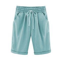 CHSDCSI Elastic Waist Women Cotton Linen Shorts Summer Loose Shorts Fashion Half Long Basic Candy Colors S-6XL Plus Size Shorts