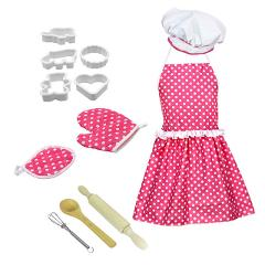 Kids Cooking And Baking Set 12pc Kitchen Costume Role Play Kits Apron Hat funny toy for children Hot Sale
