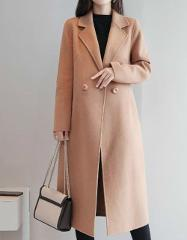 Wool Coat Women Abrigos Mujer Invierno 2019 Casual Turn-down Collar Solid Button Black Long Sleeve Woolen Coat