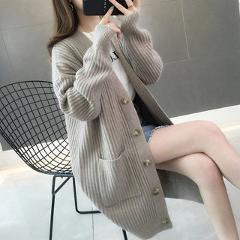 2019 Autumn/winter Fashion Women Cardigans Casual Solid Long Women Cardigan Long Sleeve Button Sweater Women 5784 50