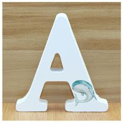 1pc 10cm Dolphin Ocean Wooden Letters Decorative Gift Or Decor Alphabet Ornaments Crafts Hand Made Letter Wedding Numbers DIY