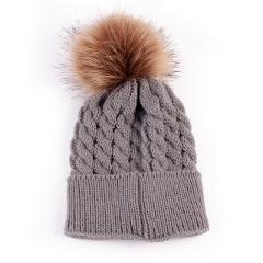 Newborn Hat Cute Winter Kids Baby Girls Boys Warm Hats Knitted Wool Hemming Hat Hairball Fur Ball Cap 0-36 Months Baby Hat