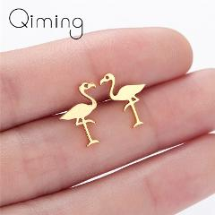 Stainless Steel Flamingo Earrings For Women Kids Cute Animal Jewelry Silver Gold Bird Stud Earrings Female Baby Birthday Gift