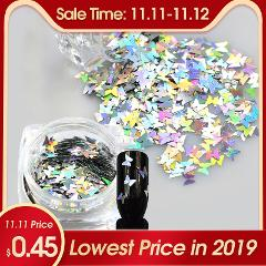 2019 New 1 Bottle Nail Art Sparkly Glitter Silver Laser Butterfly Sequins Slice Nail Thin Paillette Decoration 3D Tips BEHD02