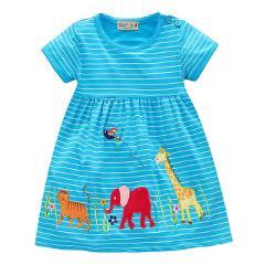 Little Bitty 2018 New Brand Summer Baby Girls pattern Princess Dress cartoon giraffe cute Dress cotton clothes birthday gift