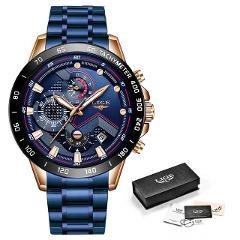 2019 LIGE New Blue Fashion Business Clock Mens Watches Top Brand Luxury All Steel Waterproof Quartz Gold Watch Relogio Masculino