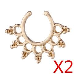 Clicker Fake Septum for Women Body Clip Hoop Vintage Fake Nose Ring Faux Piercing Body Jewelry A41