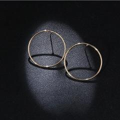 2018 Fashion Jewelry Gold Silver Color Big Hoop Earrings Exquisite Round Circle Earrings Women Hot Sale Korean Style Wholesale