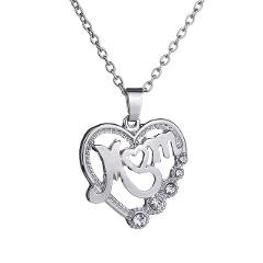 Fashion Mother's Day Heart-shaped Pendant Necklace To Mom CZ Choker Chain Jewelry Women's Creative New Year Gift