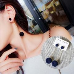 E0371 Red Black Gray Blue Plush Ball Long Earrings For Women Bijoux New Fashion Statement Jewelry High Quality Gift Wholesale