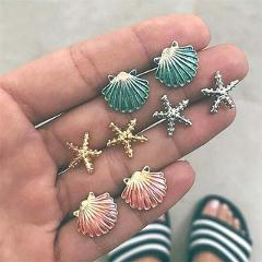 Crazy Feng Boho Gothic Stud Earrings For Women Vintage Ethnic Crystal Round Leaf Earring Studs Jewelry Simulated Pearl Earring