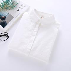 Autumn White Blouse Women 100% Cotton Office Work Wear Shirts Ladies Tops 2019 Girl Casual Long Sleeve Blouses Femme Blusa