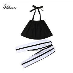 Infant Baby Girls Clothes Sets Sleeveless Tops Vest Striped Pants 2pcs Clothing Set Baby Girl