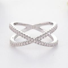 Newest Design X shape Cross Ring Female Fashion Micro Paved CZ Crystal Rings Infinity Sign Women Silver Rings for Party L5F300