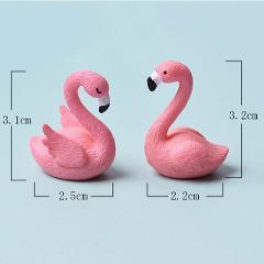 2Pcs/Set 2cm*3cm Micro Flamingo Figurine Miniature Animals Ornaments for DIY Fairy Garden Small Plants Decoration