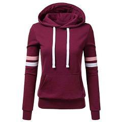 2019 Women Hoodies Stripe Sweatshirt Long Sleeve Blouse Hooded Pocket Pullover Tops Shirt Sudadera Mujer