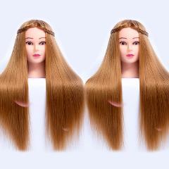 65CM Fiber Blonde Hair Training Head Mannequin Head Nice female Doll Hair styling Head Hair Mannequin manikin Head Hairdressing