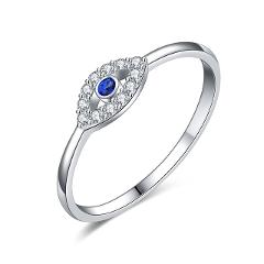 TONTGZHE Genuine 925 Sterling Silver Evil Eye Ring Charm Blue CZ Wedding Rings For Women Lucky Turkey Jewelry 2019