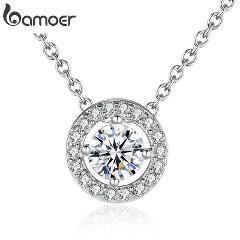 BAMOER Latest Pendant Necklace Elegant for Women With Round CZ Zircon-jewelry 0.6CM Power Necklace Wedding Jewelry YIN039