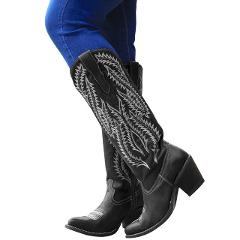 HEFLASHOR Ladies Boot Classic Embroidered Western Cowboy Boots Women Leather Cowgirl Boots Low Heel Shoes Knee High Woman Boots