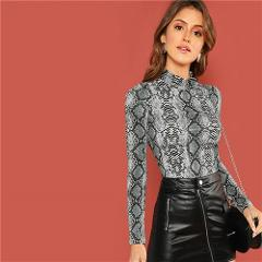 ROMWE Mock-Neck Snake Skin Print Fitted Tee Long Sleeve Slim Spring Stand Collar T Shirt Women Autumn Fashion Ladies Tops