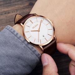 OLEVS Luxury Wrist Watches Men Watch Japan Quartz movement Waterproof High Quality Genuine Leather Ultrathin relogio masculino