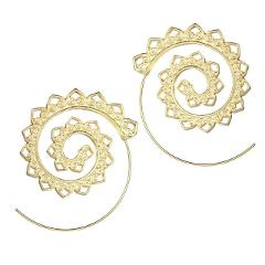 M MISM New Hollow Out Ethnic Boho Earrings Vortex Gear Golden Sliver Color Big Drop Earrings Women Pendientes Mujer Jewelry Gift