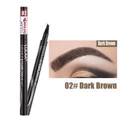 Lulaa Liquid Eyebrow Pencil Easy to Wear Microblading Pen Waterproof Henna Tint Eyebrows Tattoo Pen 4 Head Fork Eye Brow Pencil
