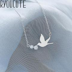 Punk Vintage 925 Sterling Silver Swallow Necklaces Pendants For Women Gifts Statement Necklaces Colar 2019