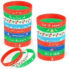 Coogam 40PCS Christmas Silicone Bracelets, Xmas Rubber Wristbands Accessories Gift for Kids Adults Stocking Stuffers, Holiday Decoration Wrist Band Party Supplies Favors