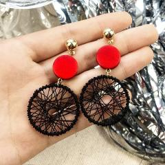 QCOOLJLY Women Fashion Korean Style Hollow Mesh Drop Earrings 2019 Fashion Luxury Simple Big Round Earrings Statement Jewelry