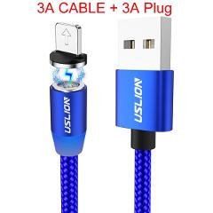 USLION 3A Fast Charging Magnetic USB Cable Type C Micro Cable LED Nylon Braided Type-C Magnet Charger For Iphone XS 7 Samsung 1M