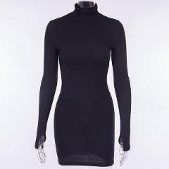 InstaHot Turtleneck Long Sleeve Skinny Dress Minimalist Autumn Knitted Casual Basic Mini Dress 8 Colors Elegant Party Slim Dress