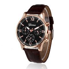erkek kol saati Retro Design Black Brown watch men Leather Band Reloj hombre Analog Quartz Wrist Watches Clock saat erkekler